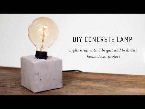 DIY Concrete Lamp   Home Decor Tutorial   Mr Kate