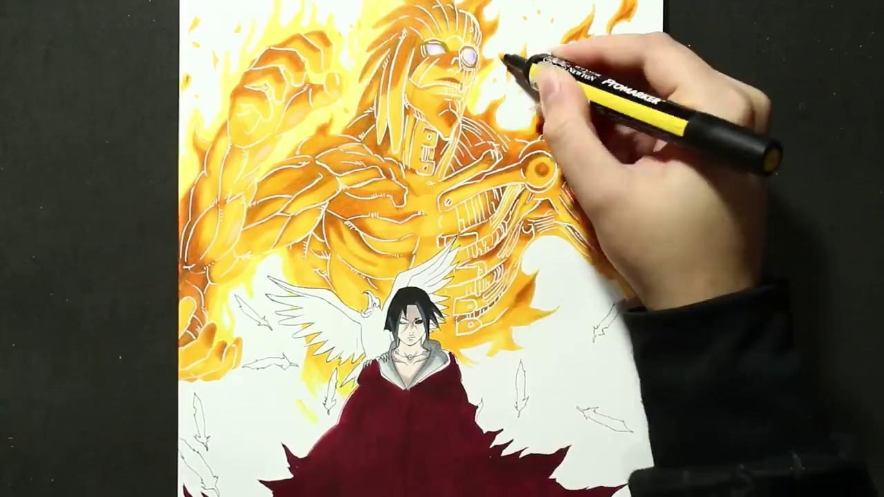 Speed Drawing Uchiha Itachi Susano O Naruto Youtube