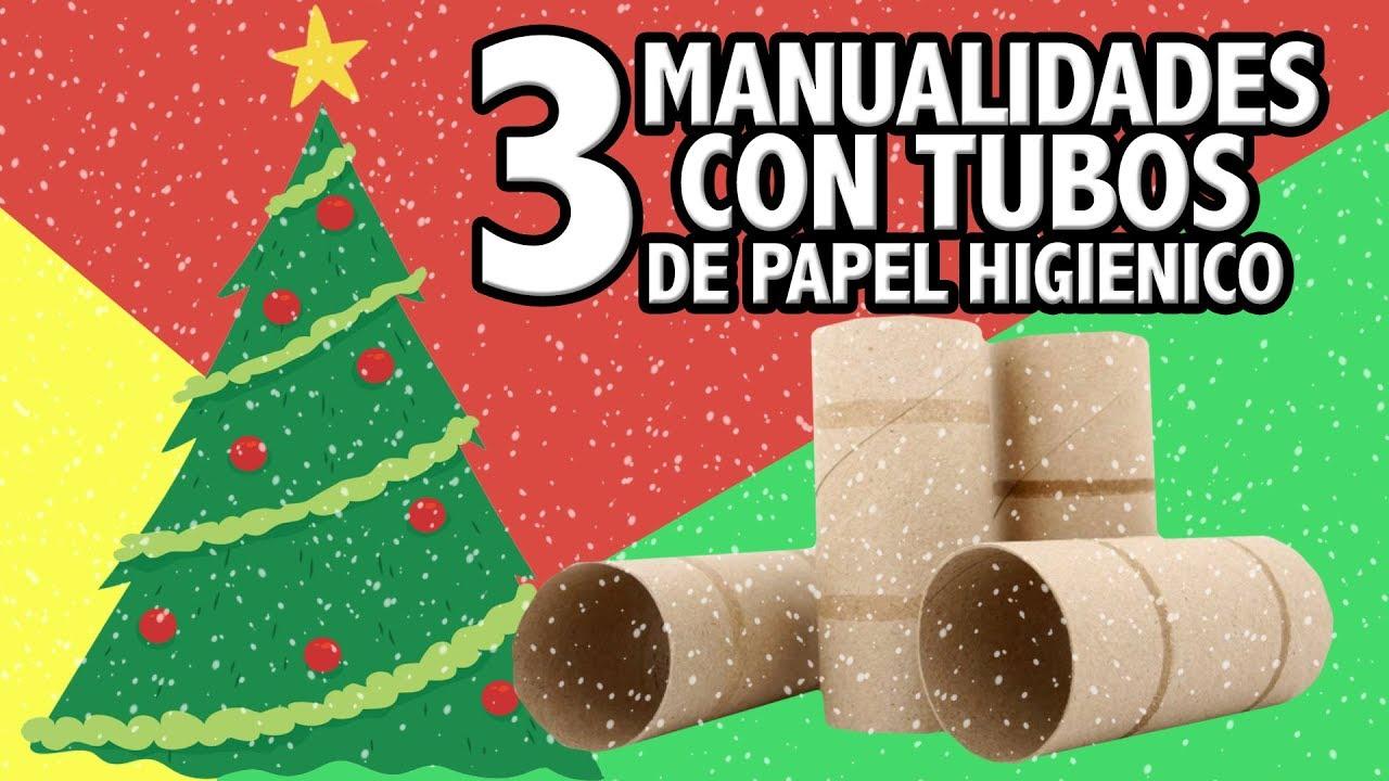 3 adornos navide os con rollos de papel higi nico - Manualidades muy faciles ...