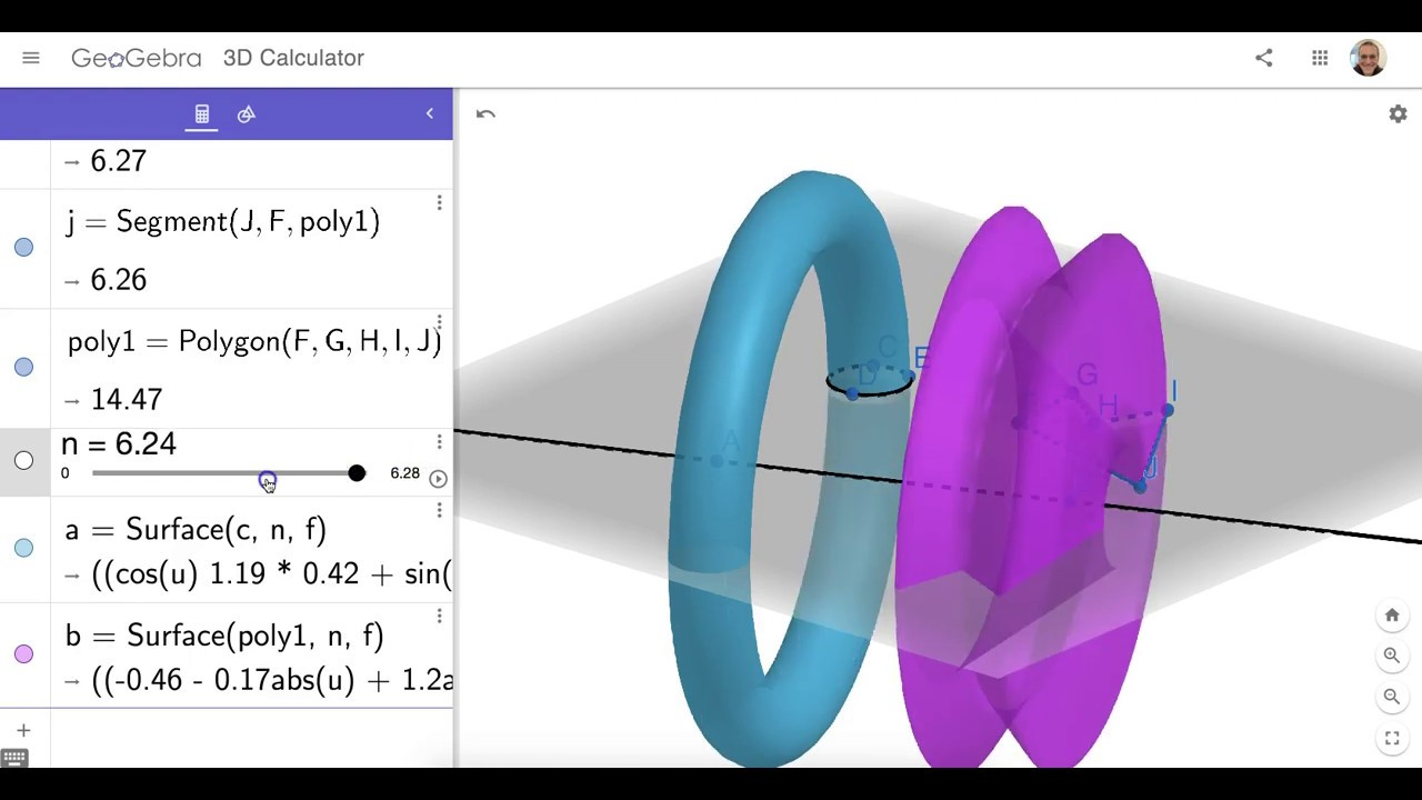 GeoGebra's NEW & IMPROVED SURFACE (of REV) Command: Quick Demo
