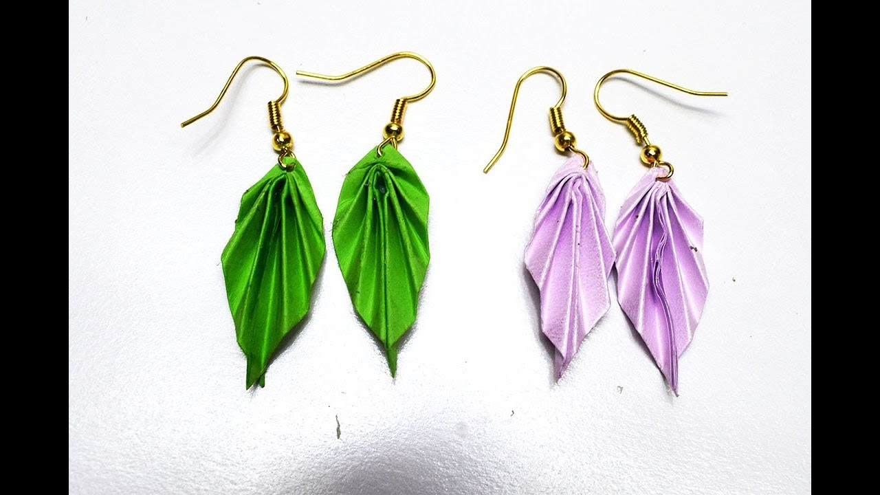 DIY Earrings Origami Leaves Jewelry InstructionsOrigami Paper Make Easy
