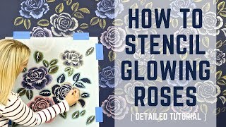 """How To Stencil """"Glowing"""" Rose Wallpaper With Metallic Paint"""