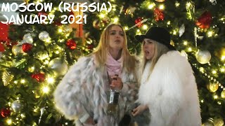 Walking Moscow (Russia): happy Russian girls - New Year 2021/Moscow never sleeps/1 January