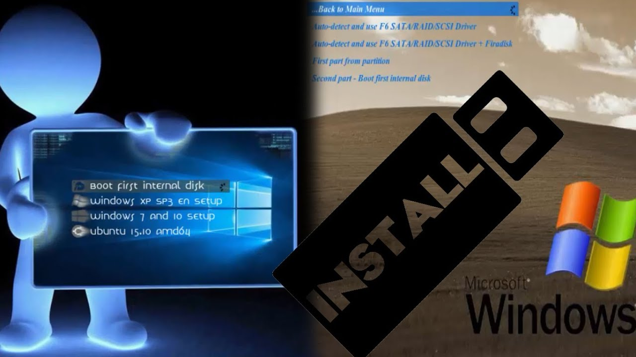 create multiboot usb flash drive windows xp, windows 7, windows 10 and  ubuntu by for a computer software