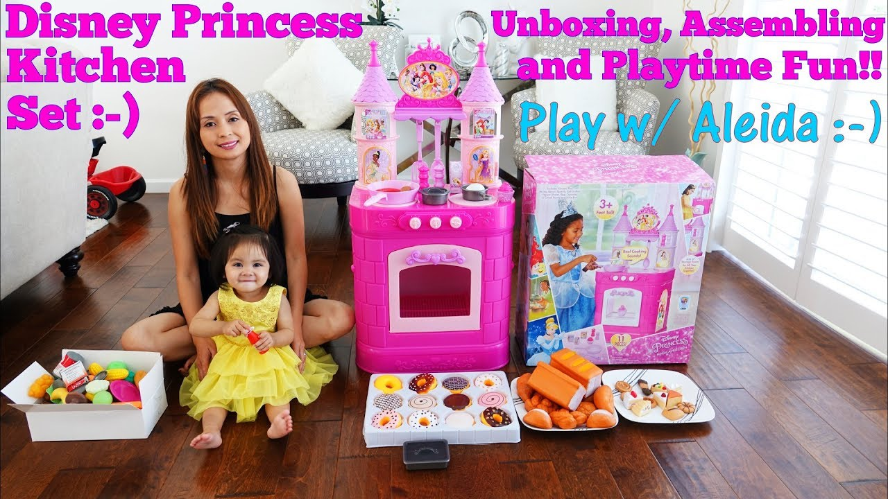 disney princess kitchen playset with sounds unboxing, assembling and