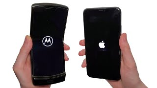 Motorola RAZR 2020 vs iPhone 11 Pro Max Speed Test, Speakers, Battery & Cameras!