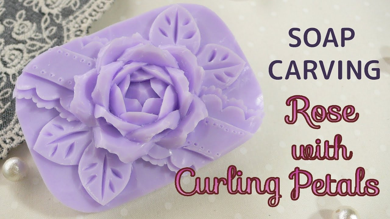 Soap carving rose with curling petals kururin