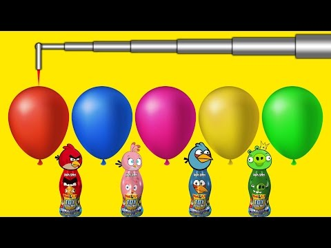 Thumbnail: Balloon blasting robot and Angry Birds Bottles Finger Family Colors Learn