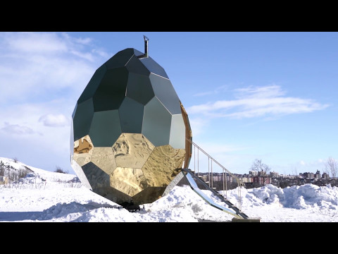 Egg-shaped sauna creates escape for residents of Swedish town displaced by mining