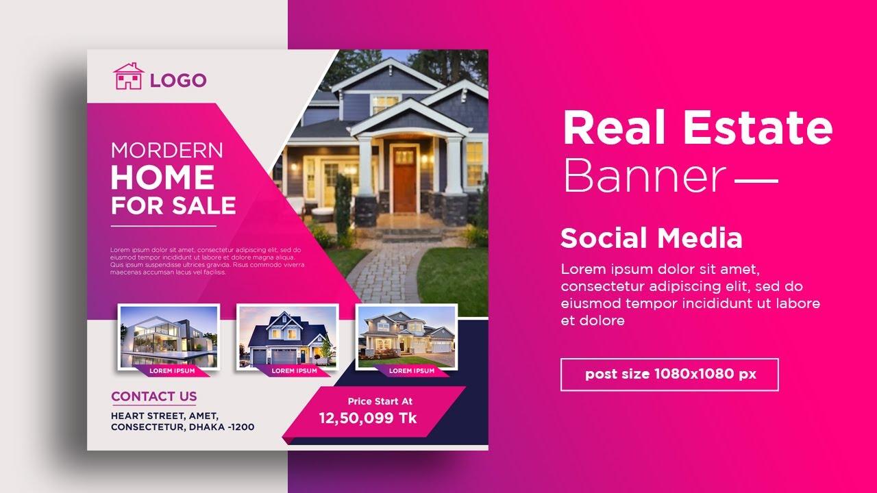 Real Estate Banner Design For Social Media Post Bannerdesign Youtube