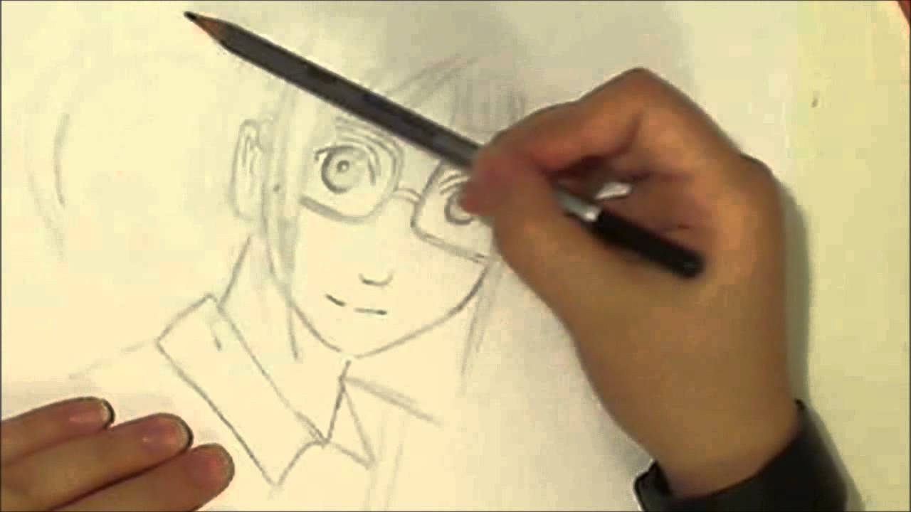 Drawing anime girl with glasses