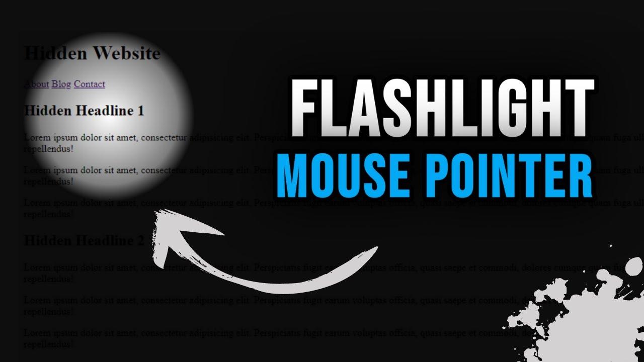 Flashlight Mouse Pointer Using JavaScript    Full Tutorial