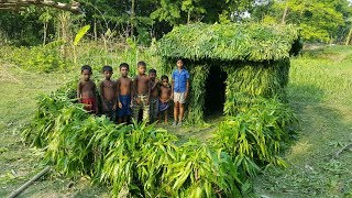 Green Tiled Roof Hut - Primitive Green House By Kids - Mutton Curry Cooking For Them
