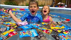 Chupa Chups pool Ice Cream M&Ms babies in the CANDY pool Gummy Skittles Learn colours songs