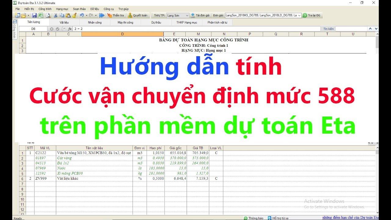 Hướng dẫn tính cước vận chuyển theo Định mức 588/QĐ-BXD trên phần mềm dự toán Eta