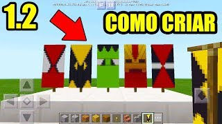 COMO CRIAR 5 BANDEIRAS DE SUPER HEROI NO MINECRAFT POCKET EDITION 1.2 (MINECRAFT 1.2)
