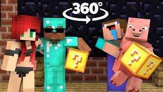 MONSTER SCHOOL VR 360º : LUCKY BLOCK - BOTTLE FLIP - HEROBRINE VACATION - Minecraft Animation
