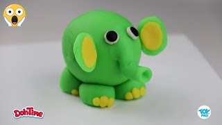 DohTime How to Make Green Elephant with Clay | كيف اصنع فيل أخضر  بالمعجون
