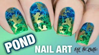 🐸 POND NAIL ART 💚 Layered Stamping Nail Art with Jelly Polishes | Hit The Bottle