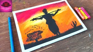 Draw African woman in sunset with oil pastel step by step