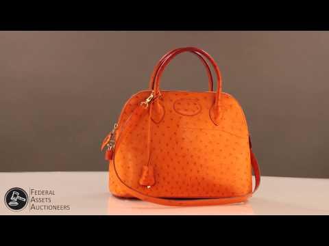 Orange Hermes Ostrich Bolide Bag - YouTube