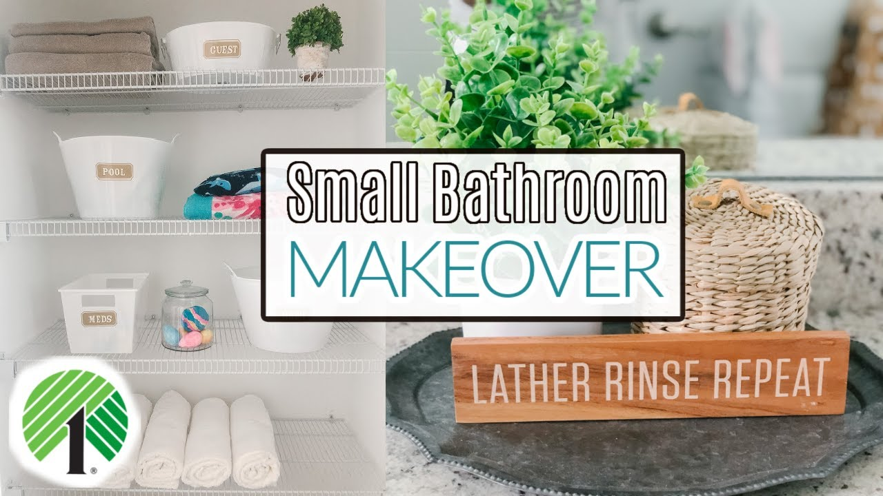 SMALL BATHROOM MAKEOVER ON A BUDGET | DOLLAR TREE STORAGE + ORGANIZATION | BATHROOM CLEAN + DECORATE