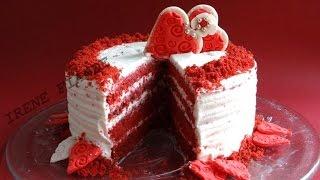 Торт Красный бархат. Торт ко дню Святого Валентина со сливочно-сырным кремом.