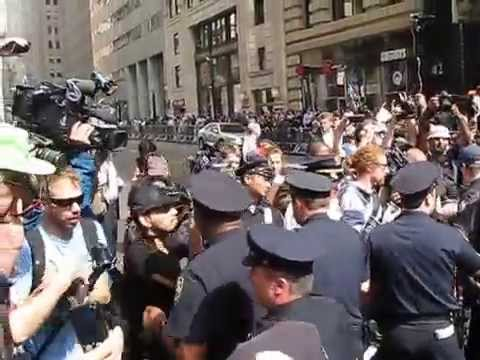 NYPD Chase And Arrest Industrial Worker of the World at #FloodWallStreet