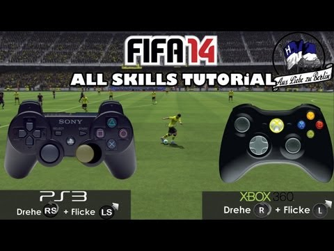 """FIFA 14 - """"All Skill Moves"""" Tutorial ᴴᴰ + Controller Animation 