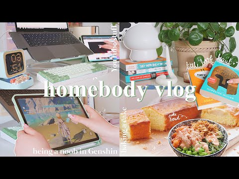chill vlog | morning routine, book haul, baking a cake, playing animal crossing and Genshin