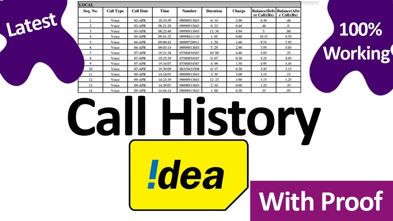 How to get call history of any Idea prepaid number, latest Idea call  details, sms details, Hindi