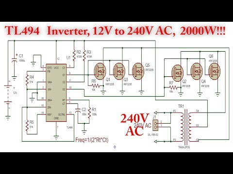 TL494 Inverter Circuit with IRF3205 Power MOSFET (2000W!) 12V to