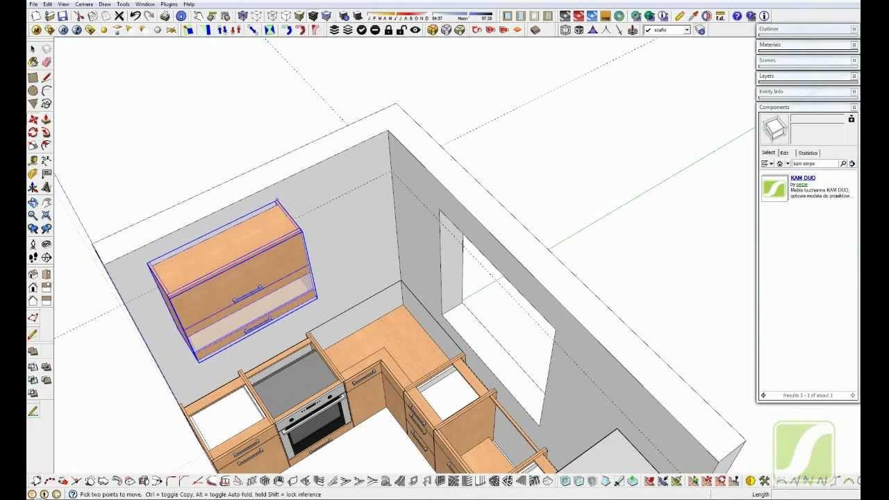 sketchup projekt kuchni  meble kuchenne cz 3  YouTube