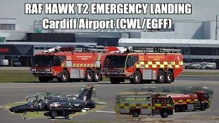 Royal Air Force BAE Systems Hawk T2 ZK021 | EMERGENCY LANDING at Cardiff Airport with ATC