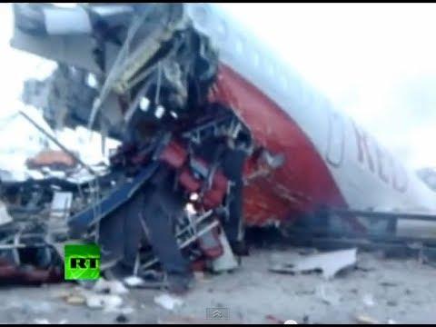 (18+) Первые минуты после крушения Ту-204