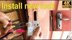How to install a new door lock on a steel door.