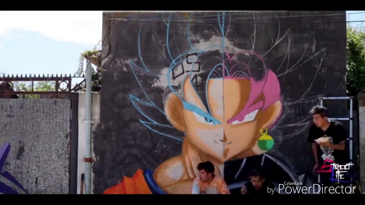 Dibujo Epico Graffiti De Goku vs Goku black  YouTube