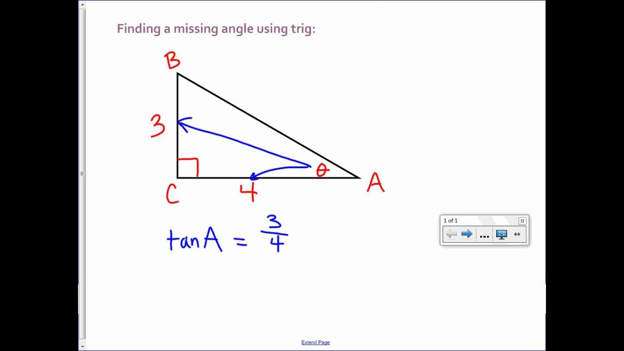 finding a missing angle with trig youtube. Black Bedroom Furniture Sets. Home Design Ideas
