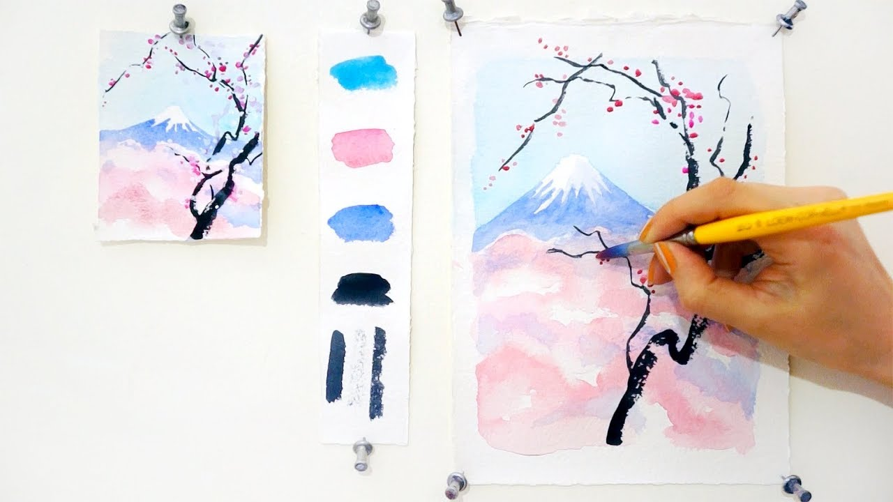 Cherry blossom and mount fuji step by step watercolor for Watercolor tutorials step by step