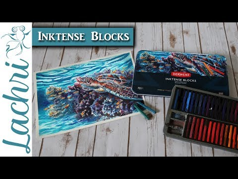 Painting the Sea Turtle cover for the new Inktense Blocks - Lachri