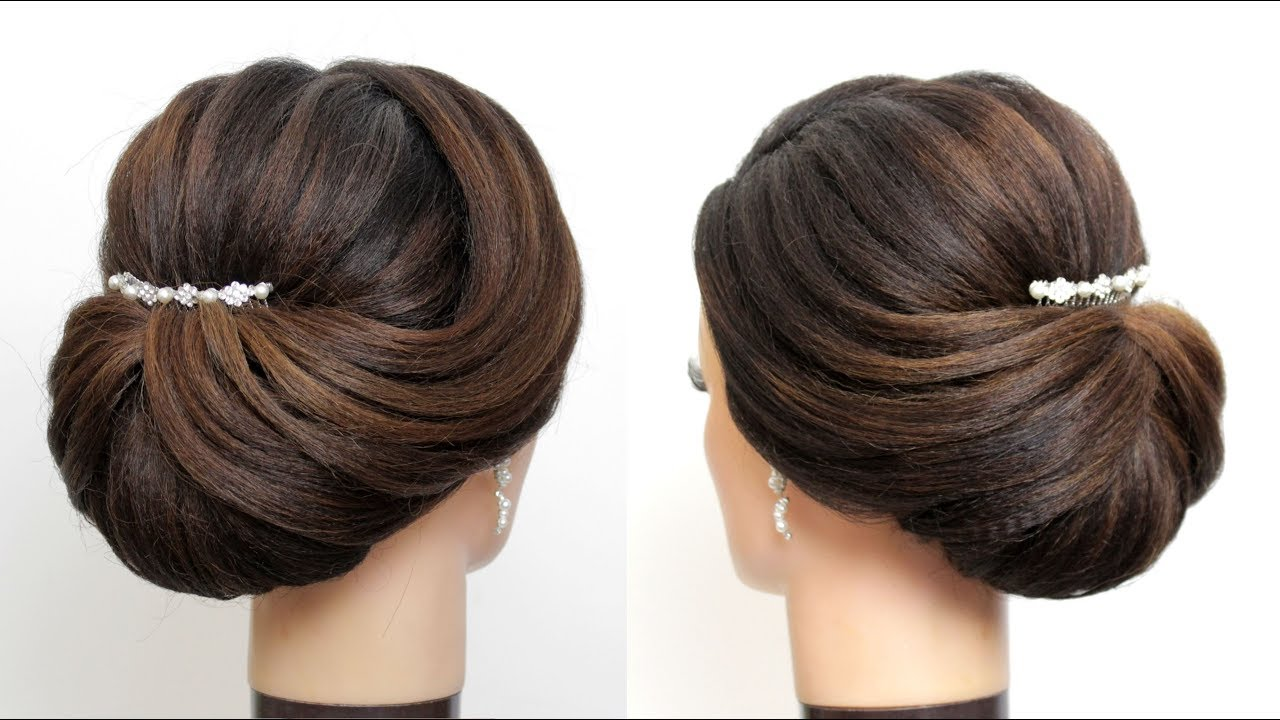 new bridal hairstyle for girls. latest wedding updo. hair tutorial