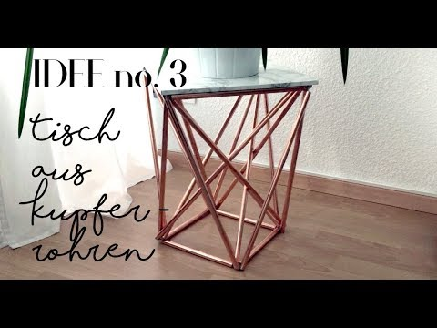 kupfer deko diy beistelltisch aus kupfer selber machen idee no 3 youtube. Black Bedroom Furniture Sets. Home Design Ideas