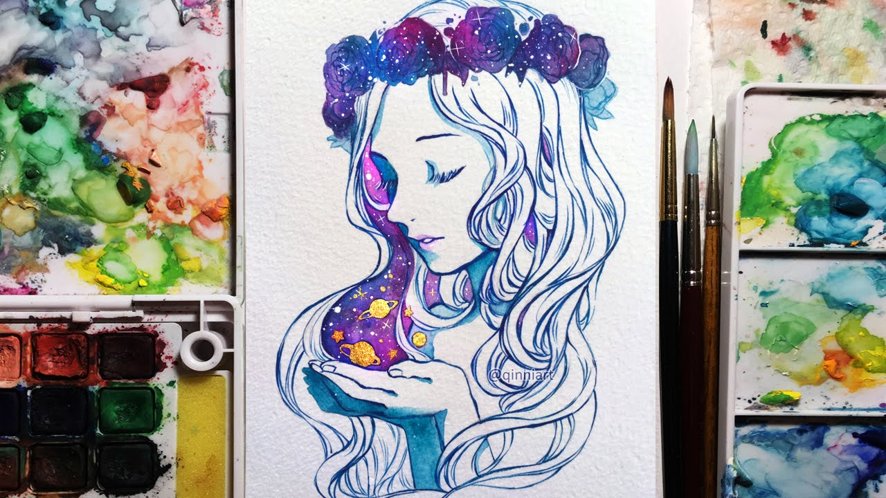 Watercolorgouache Speedpainting Galaxy Flower Crown Girl Youtube