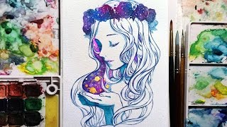 Watercolor+Gouache Speedpainting - Galaxy flower crown girl