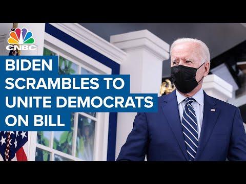 President Joe Biden scrambles to unite Democrats on infrastructure bill