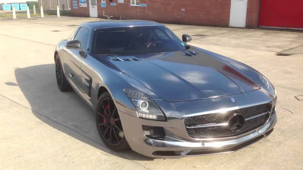 Amazing Car Wrap Custom Black Chrome Mercedes Sls Amg Youtube