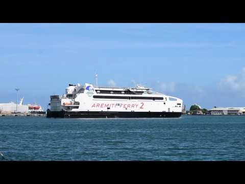 Papeete, Tahiti, French Polynesia - Aremiti Ferry 2 Arrives in Papeete HD (2017)