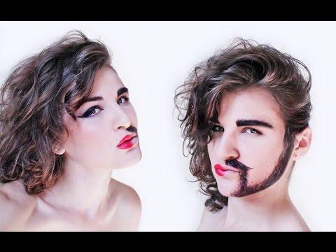 Half Woman Half Man makeup tutorial. NK - YouTube - photo#28