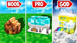 Minecraft NOOB vs PRO : BUILD SMALLEST BLOCK HOUSE INSIDE CUBE  | Challenge!