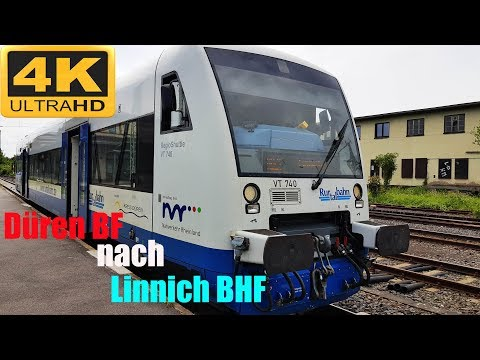【4K】 Führerstandsmitfahrt  Düren BH  nach  Linnich BHF mit Rurtalbahn über Huchem-Stammeln,Julich,